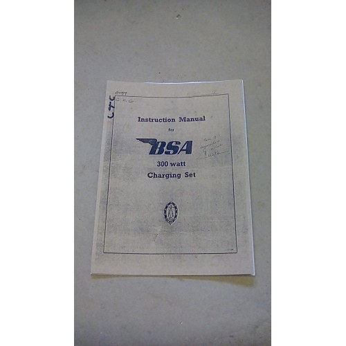 INSTRUCTION MANUAL BSA 300 WATT CHARGING SET 15179